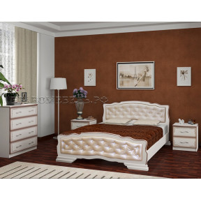 """Кровать """"Карина-10"""" дуб молочный, светлая кожа 140*200"""