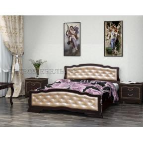 """Кровать """"Карина-10"""" орех темный, светлая кожа 140*200"""