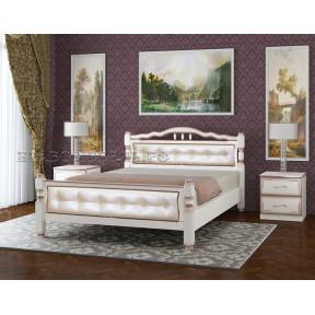 """Кровать """"Карина-11"""" дуб молочный, светлая кожа 140*200"""