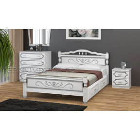 """Кровать """"Карина-5"""" белый жемчуг, с ящиками 90*200см"""