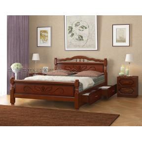 """Кровать """"Карина-5"""" орех, с ящиками 90*200см"""