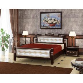 """Кровать """"Карина-11"""" орех темный, светлая кожа 120*200"""